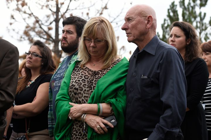 Sandy Phillips, left, and her husband Lonnie, parents of Aurora shooting victim Jessica Ghawi.