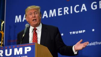 KEENE, NH - SEPTEMBER 30: Republican Presidential candidate Donald Trump speaks during a town hall event at Keene High School September 30, 2015 in Keene, New Hampshire. Trump has seen his lead in the polls slip but still leads in New Hampshire. (Photo by Darren McCollester/Getty Images)