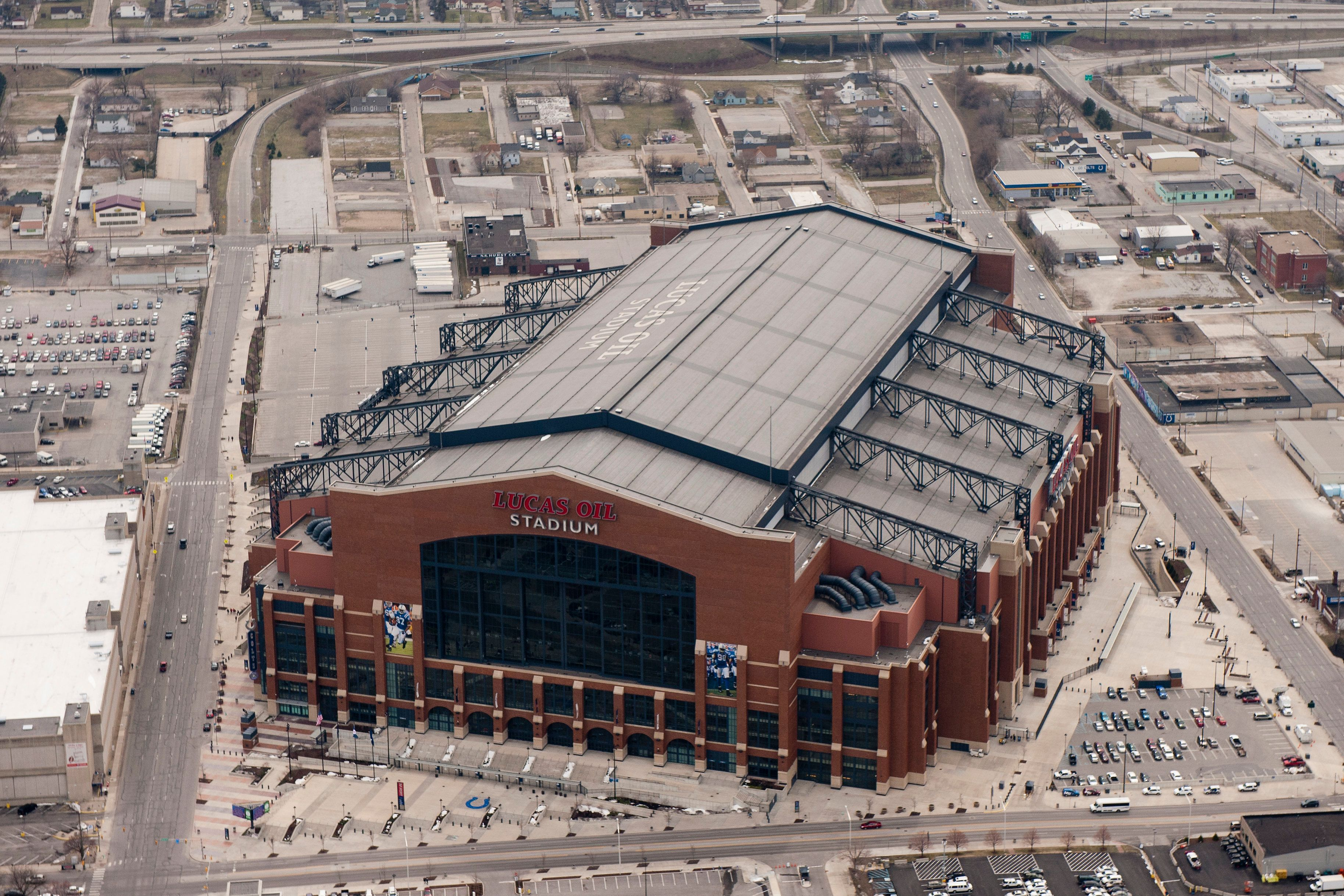 INDIANAPOLIS, IN - MARCH 30: An aerial view of Lucas Oil Stadium during the Midwest Regional round of the 2013 NCAA Men's Basketball Tournament on March 30, 2013 in Indianapolis, Indiana. (Photo by Lance King/Getty Images)