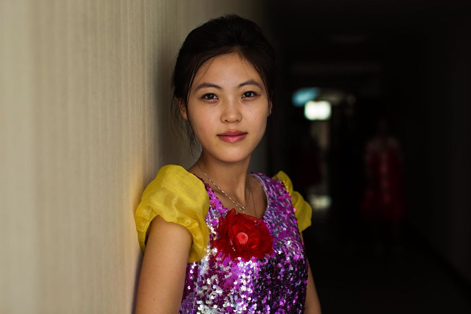 A singer before her show, in Sinuiju