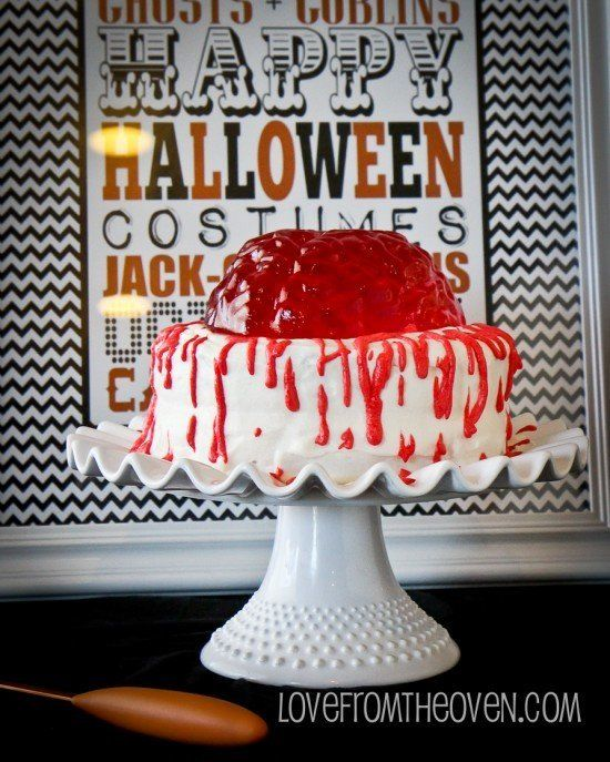 10 jell o brain cake - Gory Halloween Food Ideas