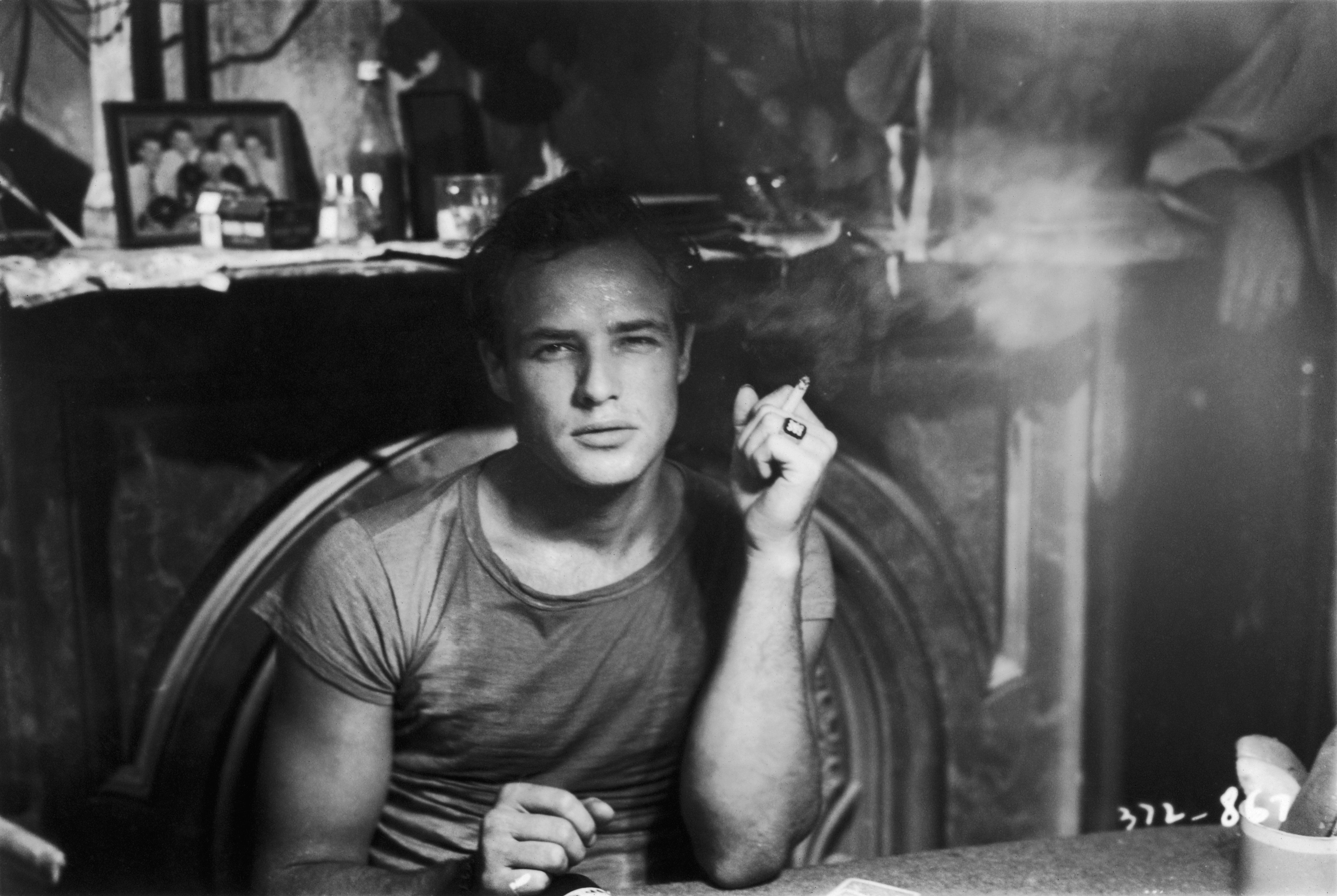 Marlon Brando in a scene from  'A Streetcar Named Desire', adapted from the play by Tennessee Williams and directed by Elia Kazan for Charles K Feldman Group/Warner Brothers.   (Photo by Hulton Archive/Getty Images)