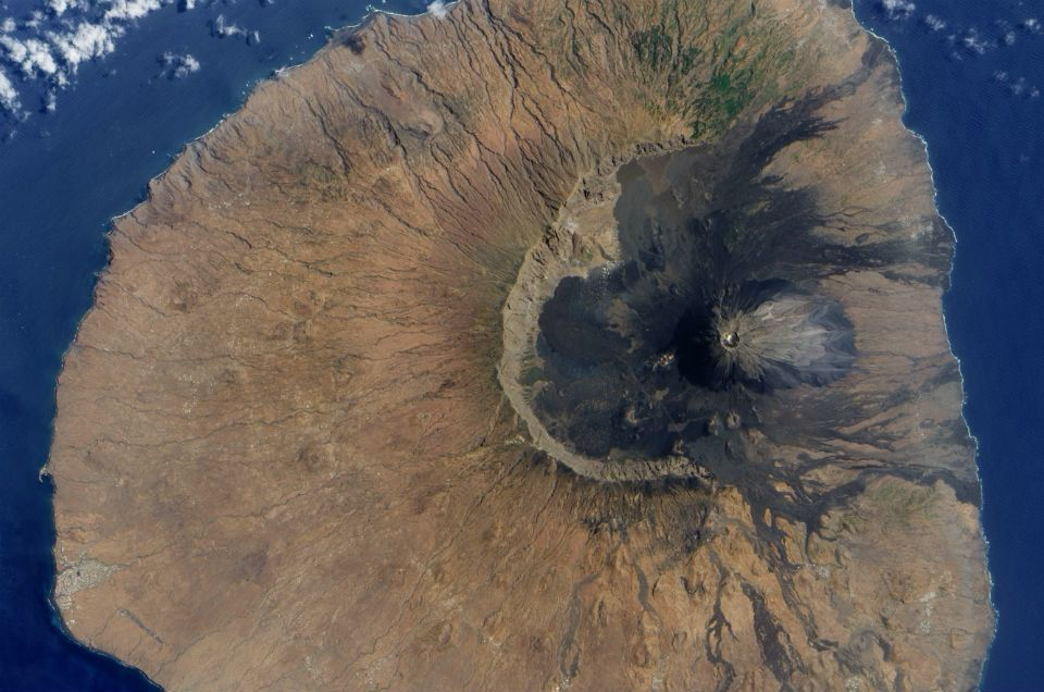 Geologists think the eastern flank of the Cape Verde islands' Fogo volcano crashed into the sea some 73,000 years ago, leaving this giant scar, and generating a gigantic tsunami.