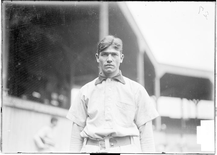 Circa 1904: Jimmy Sebring, an outfielder for the Pirates, stands on the field at West Side Park in Chicago, Illinois.
