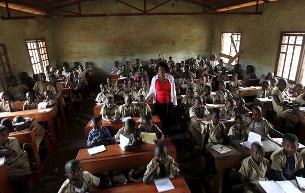 Bujumbura, Burundi --- A teacher leads a class session at the primary schoolAve Marie in Burundi's capital.