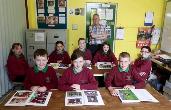 Northern Ireland,U.K. --- Primary Seven pupils from Glenaan Primary School in the Glens of Antrim pose for a group pict