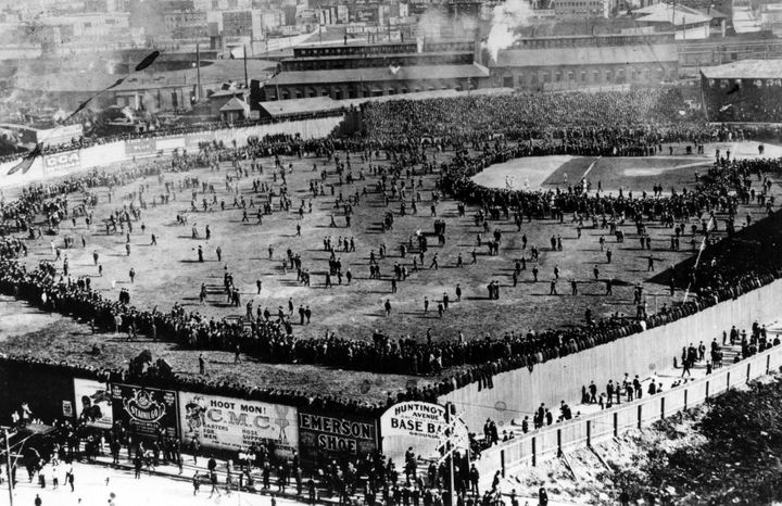 On Oct. 1, 1903, the crowd poured onto the field at Huntington Avenue Grounds in Boston following the opening game of the 190