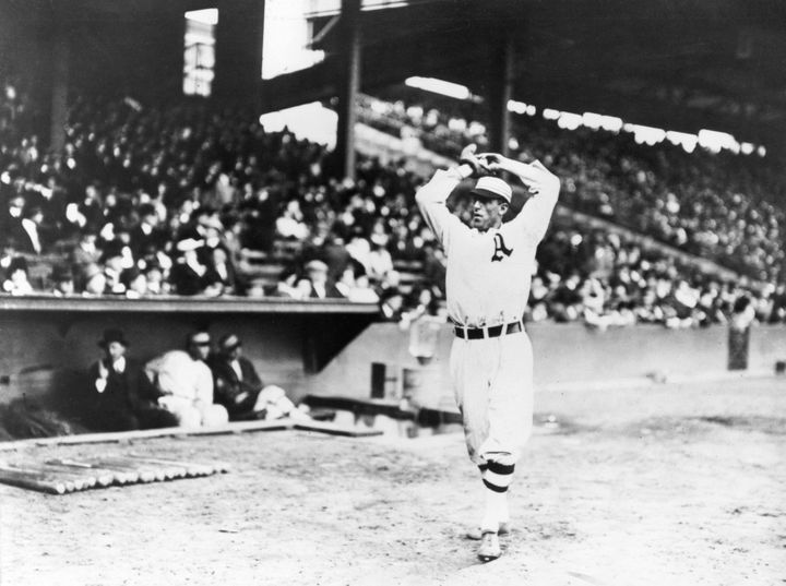 Eddie Plank, starting pitcher for Philadelphia, warms up in Shibe Park before Game Two of the 1914 World Series.