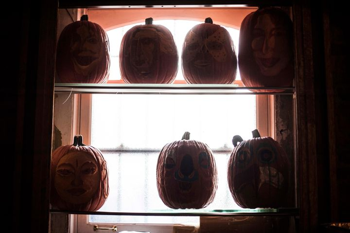 The studio of pumpkin carver Hugh McMahon is stacked with pumpkins; he estimates that he will carve more than 300 pumpkins this season for clients that include W Hotel and Chelsea Market.