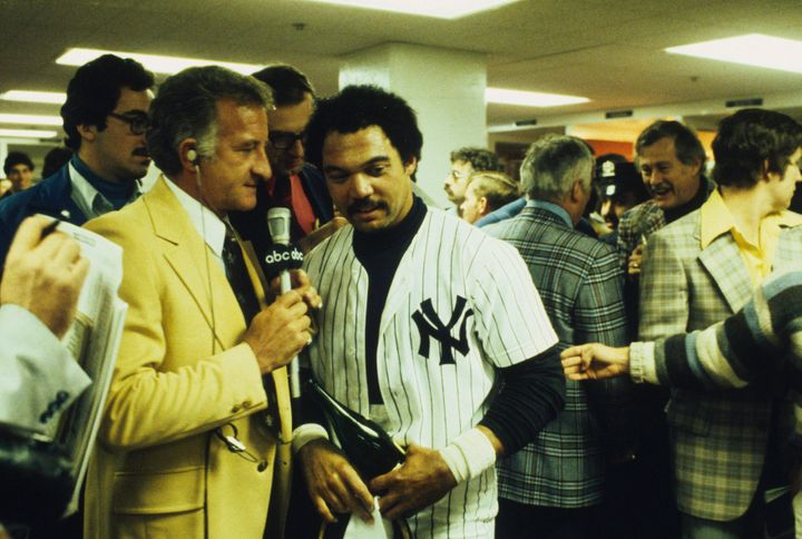 Reggie Jackson after winning the 1977 World Series.