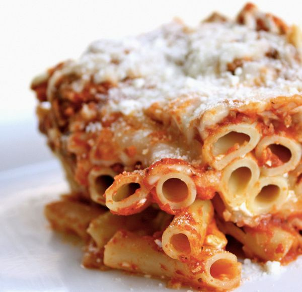 "<strong>Get the <a href=""http://www.the-girl-who-ate-everything.com/2010/03/baked-ziti.html"" target=""_blank"">Italian Sausage"