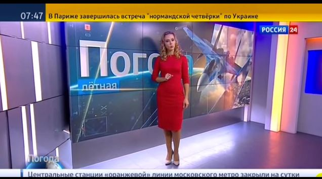 """A Russian TVforecaster called weather conditions in Syria """"ideal"""" for bombing campaign."""