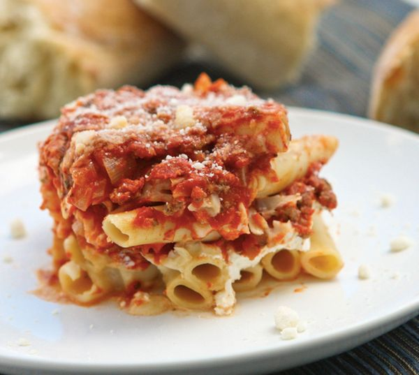 "<strong>Get the <a href=""http://www.pipandebby.com/pip-ebby/2012/6/15/baked-ziti.html"">Beefy Baked Ziti recipe</a> from"