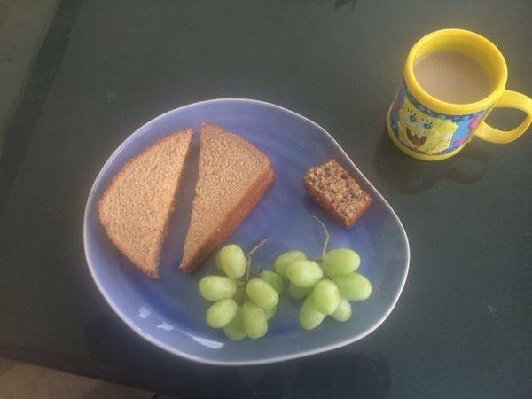 """""""Peanut butter sandwich (No jelly. I don't like jelly.), grapes, banana bread and chocolate milk. I eat peanut butter almost"""