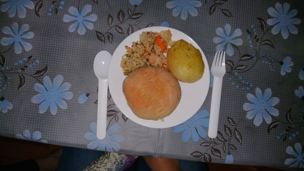 """""""I had rice with vegetables, a roasted potato and a roll of homemade bread. The rice and vegetables was leftover from dinner"""