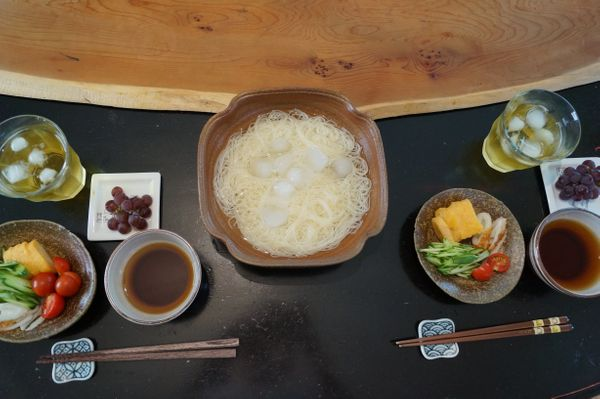 """""""Japanese somen noodle and soup to dip the noodle; cucumber, tomato, fried egg and Chikuwa (fish sausage). The cucumber and t"""