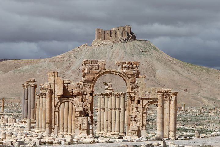 A picture taken on March 14, 2014, shows a partial view of the ancient oasis city of Palmyra, 215 kilometers northeast of Dam