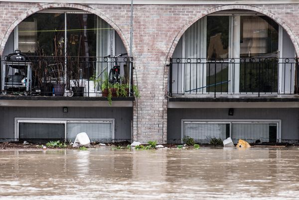 Possessions are stacked in second-floor apartments during heavy flooding in Columbia, South Carolina.