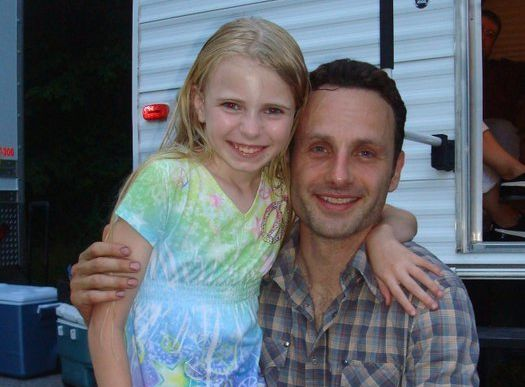 Addy on set with Andrew Lincoln.