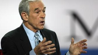 Republican presidential hopeful Texas Congressman Ron Paul participates in the televised Republican Candidates Debate 30 January 2008 at the Reagan Library in Simi Valley, California. AFP PHOTO / GABRIEL BOUYS (Photo credit should read GABRIEL BOUYS/AFP/Getty Images)