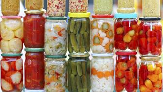 Pickled vegetables in mason jars ready for winter