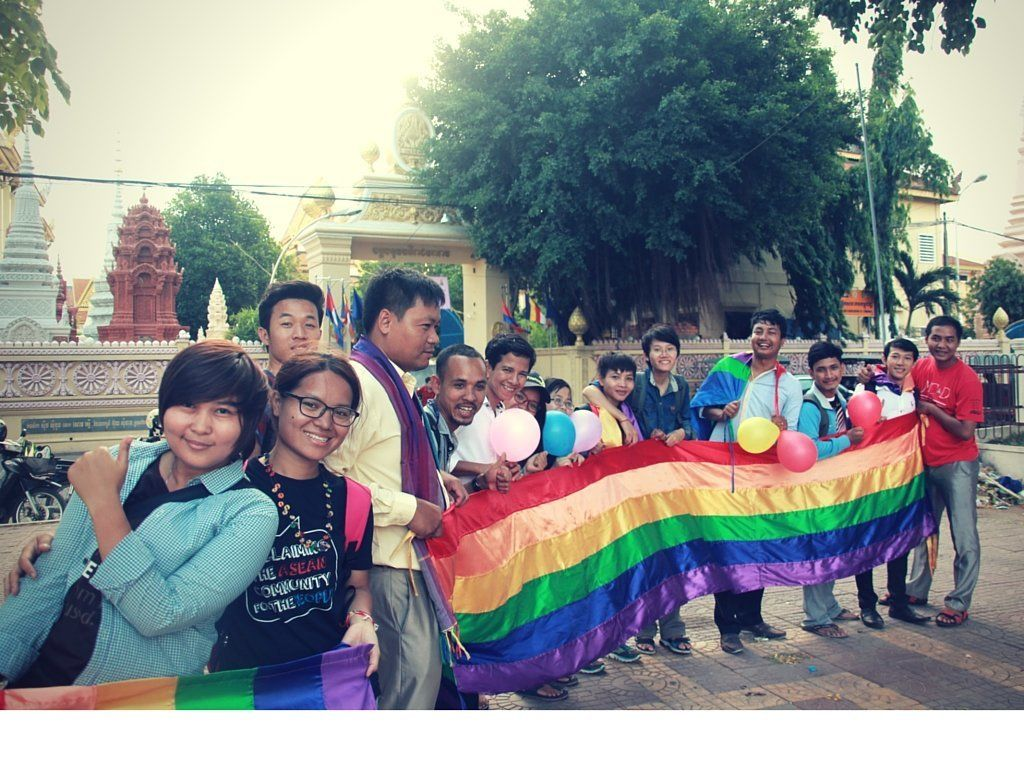 Cambodian LGBT activists gather in Phnom Penh to commemorate the International Day Against Homophobia, Transphobia and B