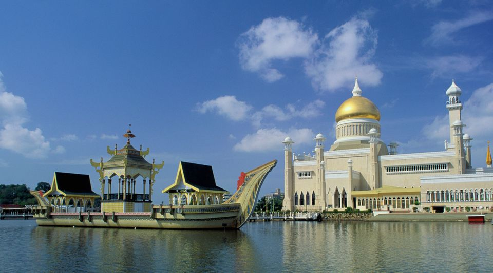 Brunei's Sultan Omar Ali Saifuddin Mosque. Homosexuality is illegal in the sultanate, which last year...