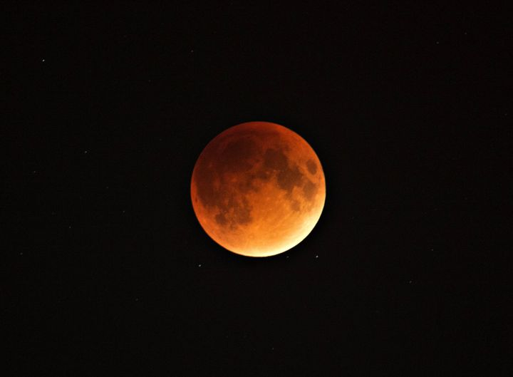 A blood and supermoon is seen across Canada with clear skies in Montreal, Canada on the night of Sept. 27, 2015.