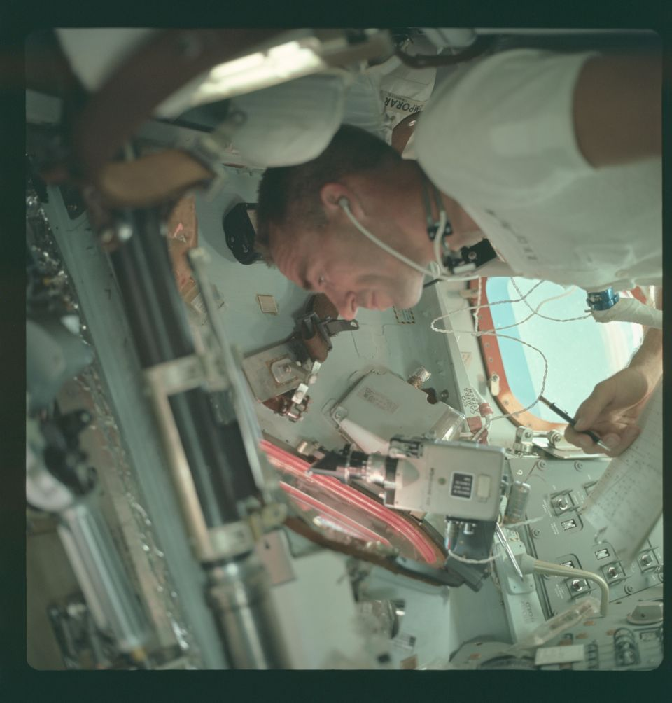 Apollo 7 Hasselblad image from film magazine 4/N - Earth Orbit