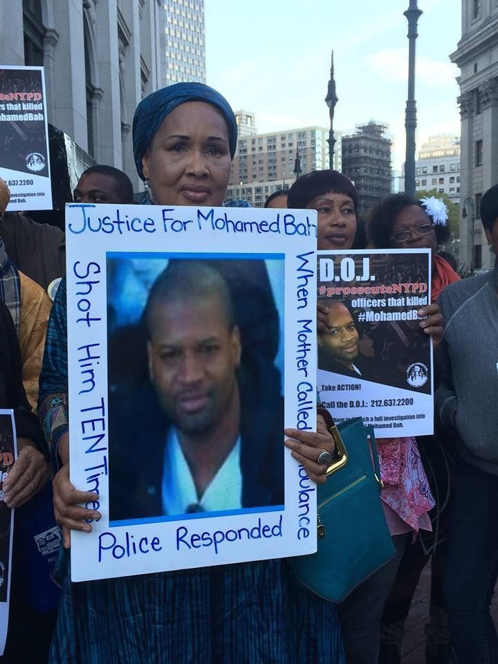 Hawa Bah, mother of Mohamed Bah, leads a rally on Oct. 7, 2015, in lower Manhattan, calling on the Department of Justice