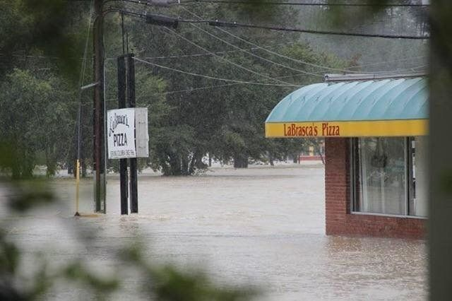 LaBrasca's Pizza in Columbia, South Carolina, was surrounded by 4 feet of water during the flood on Oct. 4.