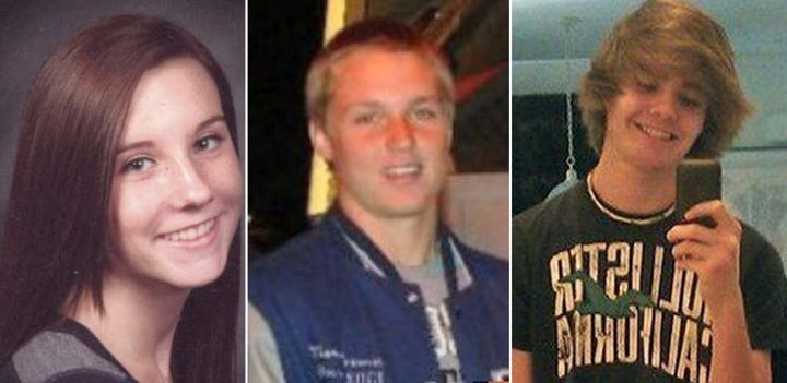 From left: Brittany Palumbo, 17, Marcus Freeman, 16, and Wesley McKinley, 17, ofNorth Port High School all died.