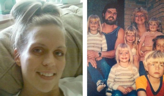 On left, Monica Weber-Jeter smiles for the camera. On right, a young Weber-Jeter sits on father Rick Weber's lap in an o