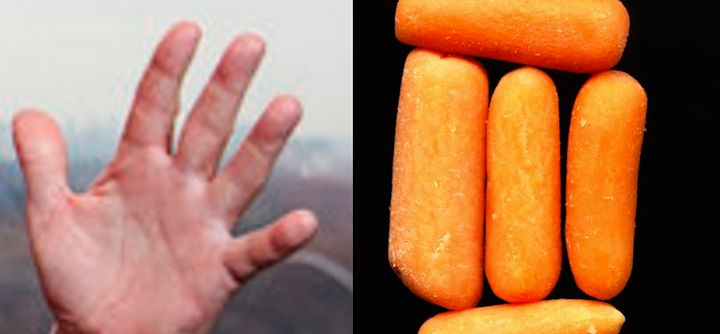 Left: President Donald Trump's hand. Right: Baby carrots.