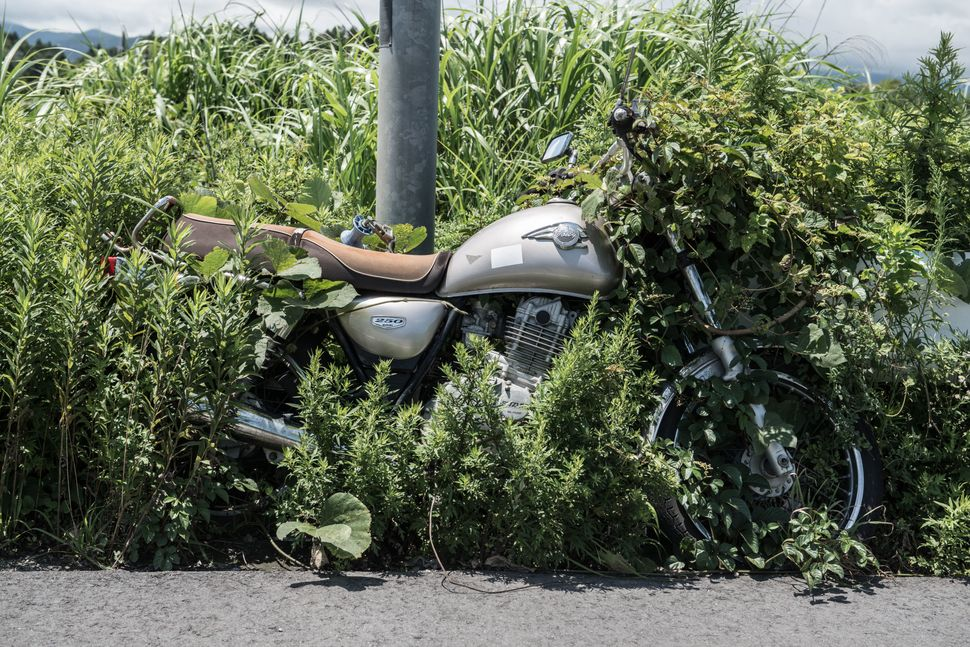 A motorbike left next to a lamppost in 2011. Since the disaster weeds have grown over much of the bike's wheel.