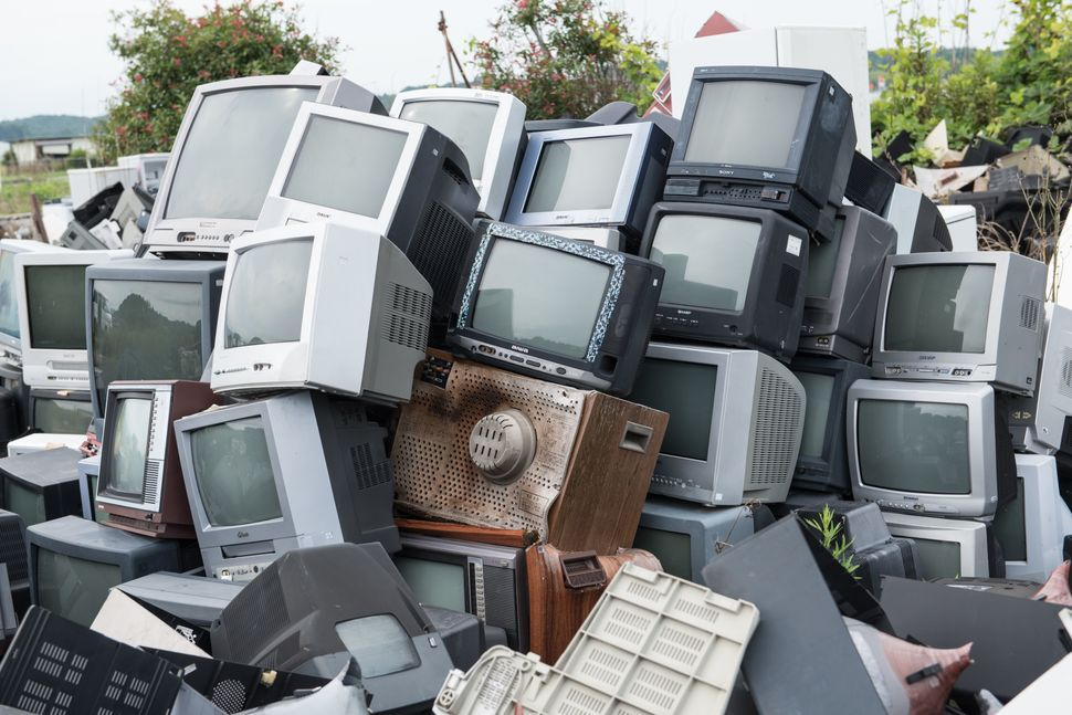 A stack of radiation contaminated televisions.