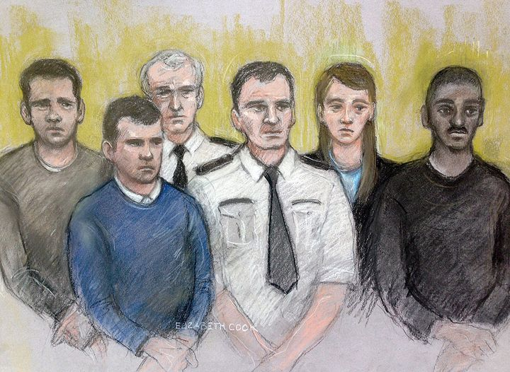 Court artist sketch by Elizabeth Cook of (left to right back row) Nathan Matthews, a dock officer, Shauna Hoare (front row le