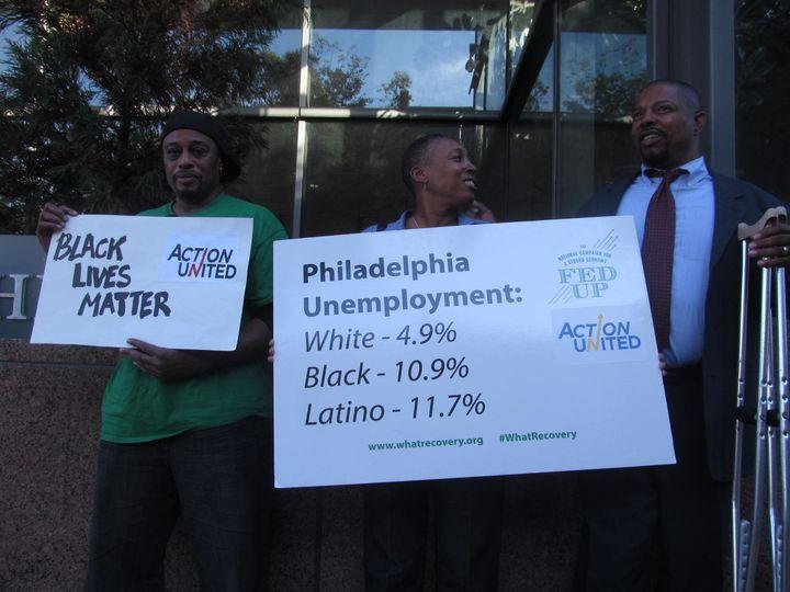 Members of the Philadelphia community group ACTION United protestoutside the Federal Reserve Bank of Philadelphia on Tu