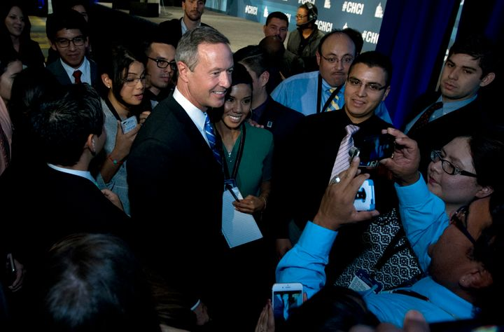 Democratic hopeful andformer Maryland Gov. Martin O'Malley shakes hands with participants after speakingat the Co