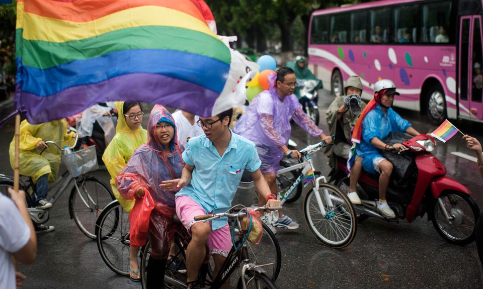 At the fourth annual LGBT pride parade held in Hanoi, Vietnam, on Aug. 2, 2015, hundreds of demonstrators...