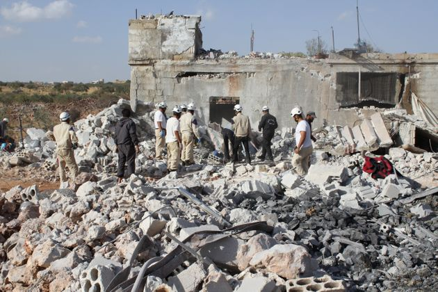 "<span class='image-component__caption' itemprop=""caption"">Wreckage of buildings are seen at the site of the alleged Russian airstrikes targeting the Jabal al-Zawiya town of Idlib, Syria on October 03, 2015. (Stringer/Anadolu Agency/Getty Images)</span>"