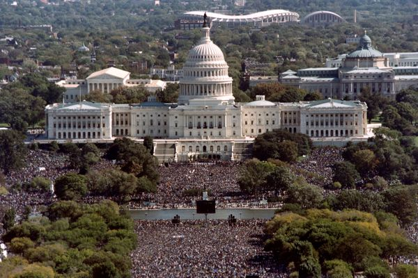 This photograph taken from the top of the Washington Monument shows thousands of people in front of the US Capitol during the