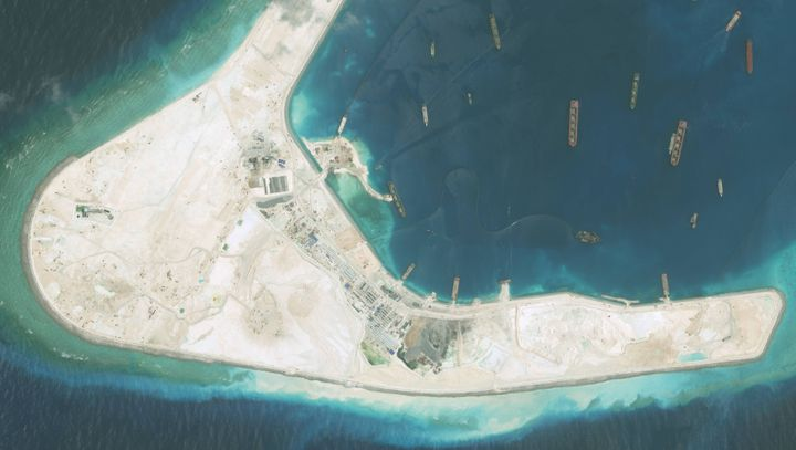 High-resolution imagery of the Subi Reef in the South China Sea, a part of the Spratly Islands group.
