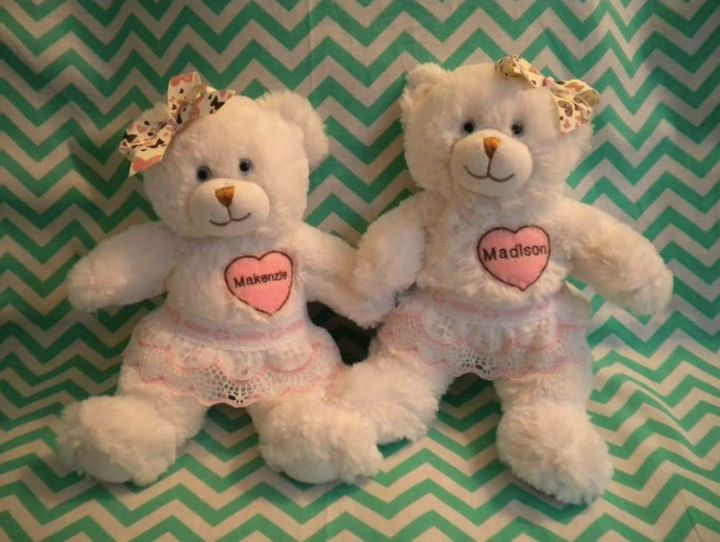 Molly Bears' volunteers help sew bears in the weight of babies who have passed away.