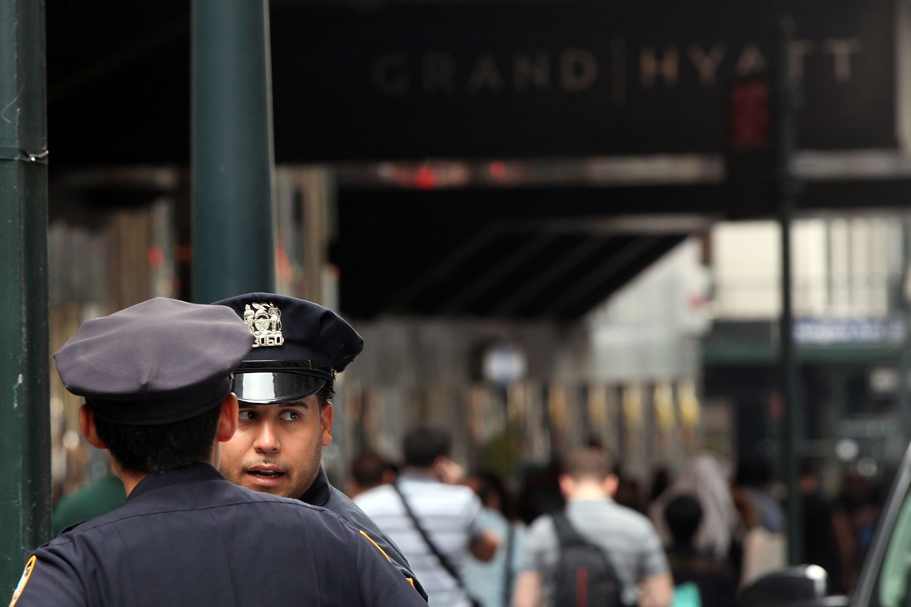 NEW YORK, NY - SEPTEMBER 10:  Police are viewed outside of the Grand Hyatt hotel in Manhattan following the mistaken arrest of James Blake, a retired top-10 professional tennis player on September 10, 2015 in New York City. Blake, who is black, has said he was slammed to the ground outside his hotel in Midtown Manhattan while waiting to go to the U.S. Open tennis tournament on Wednesday. New York Police Department Commissioner William J. Bratton  has apoligized for the incident and an investigation is continuing.  (Photo by Spencer Platt/Getty Images)