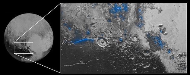 "<span class='image-component__caption' itemprop=""caption"">Regions with exposed water ice are highlighted in blue in this composite image from the New Horizons spacecraft. It combines visible imagery with infrared spectroscopy. The strongest signatures of water ice occur along Virgil Fossa, just west of Elliot crater on the left side of the inset image, and also in Viking Terra near the top of the frame. A major outcrop also occurs in Baré Montes towards the right of the image, along with numerous smaller outcrops, mostly associated with impact craters and valleys between mountains. The scene is approximately 280 miles (450 kilometers) across. Note that all surface feature names are informal.</span>"