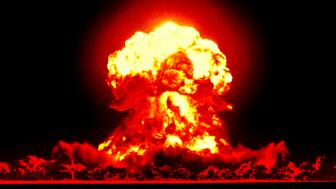 Nuclear explosion created by American atomic bomb.