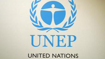 Singapore, SINGAPORE: Logo of the United Nations Environment Programme. Seven People from all the regions will be awarded at a presentation ceremony in Singapore 18 April 2007. The International Olympic Committee (IOC) and its president Jacques Rogge will receive a UN award for their role in putting the environment as a key component of the Olympic sports movement, organisers said.  AFP PHOTO/ROSLAN RAHMAN (Photo credit should read ROSLAN RAHMAN/AFP/Getty Images)