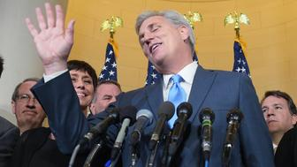 Representative Kevin McCarthy, R-CA, speaks following the Republican nomination election for House speaker in the Longworth House Office Building on October 8, 2015 in Washington, DC. McCarthy withdrew from the race to replace John Boenher as House speaker. AFP PHOTO/MANDEL NGAN        (Photo credit should read MANDEL NGAN/AFP/Getty Images)