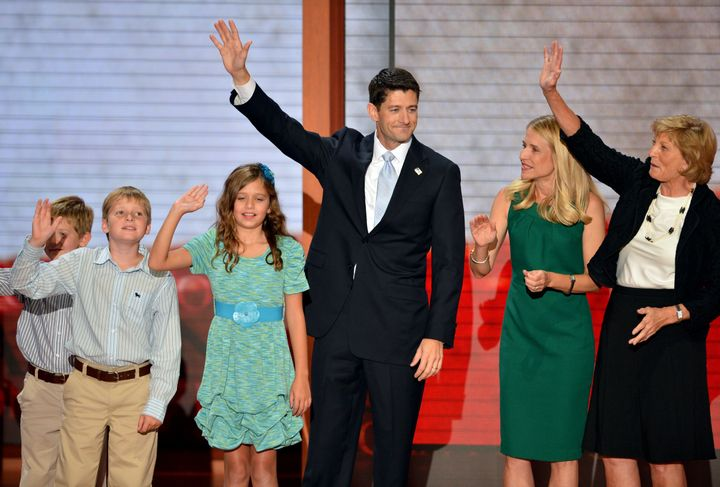 Republican vice presidential nominee Paul Ryan (C) with his wife Janna Ryan (2nd R), mother Betty Douglas (R) and children Sa